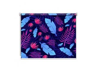 Store enrouleur occultant sur mesure feuille palmier fond bleu