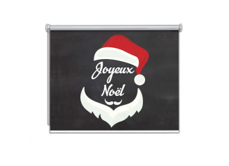 Store enrouleur occultant sur mesure fond rouge barbe père Noël