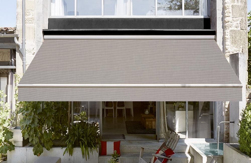 toile de store banne dickson orchestra gris sur mesure. Black Bedroom Furniture Sets. Home Design Ideas