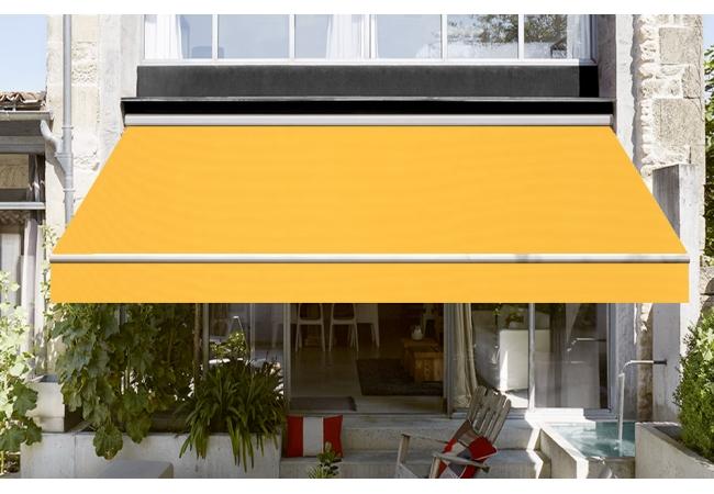 toile de store banne dickson orchestra jaune sur mesure. Black Bedroom Furniture Sets. Home Design Ideas