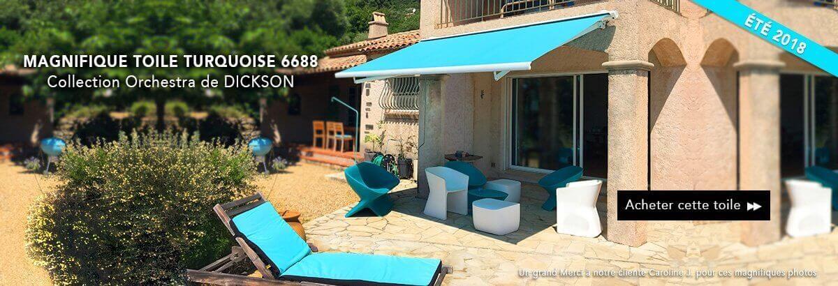 Toile de store banne turquoise 6688